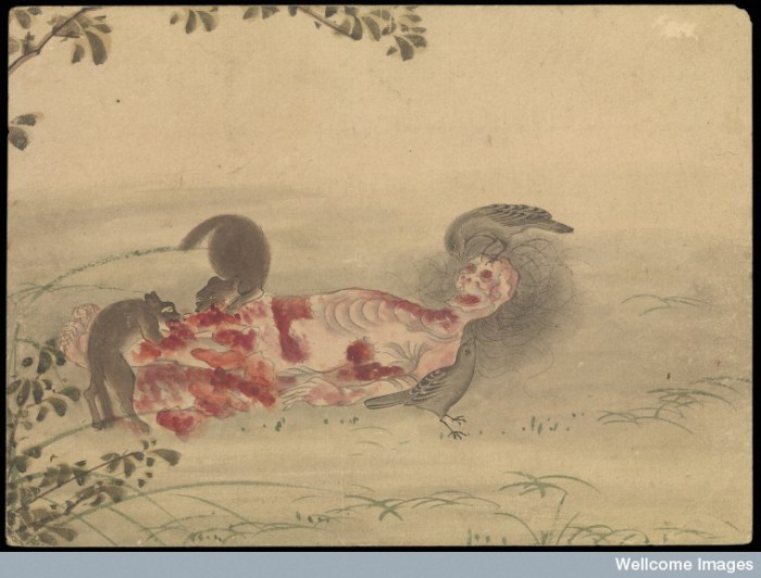 L0070293 Kusozu: the death of a noble lady and the decay of her body. Credit: Wellcome Library, London. Wellcome Images images@wellcome.ac.uk http://wellcomeimages.org Kusozu: the death of a noble lady and the decay of her body.  Sixth in a series of 9 watercolour paintings. The putrefying body is now carrion for scavenging birds and small animals. Watercolour Published: [17--?]  Copyrighted work available under Creative Commons Attribution only licence CC BY 4.0 http://creativecommons.org/licenses/by/4.0/