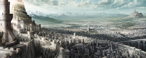 Boletaria, artist's rendering. To the left, the King's Tower. To the right, the Lord's Path connecting the palace gates to the city within.