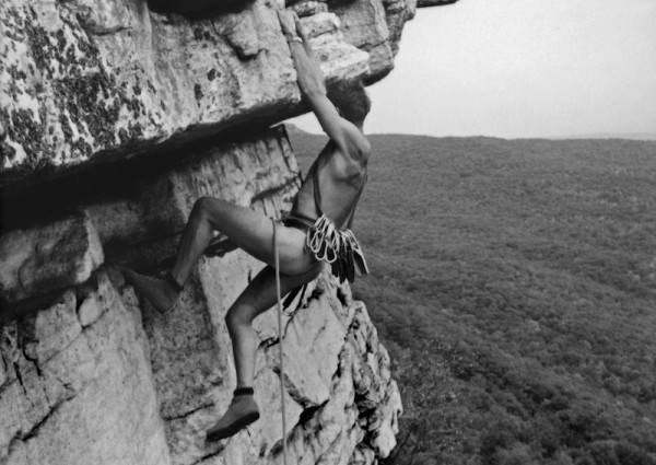 """Infamous nude ascent of Shockleys Ceiling by a Vulgarian in the Shawangunk Mountains (The """"Gunks"""") in September 1964."""