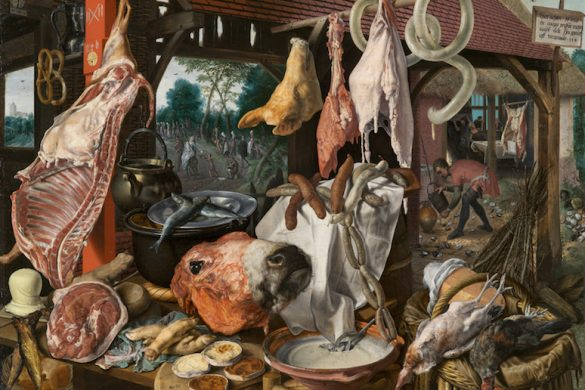 "Pieter Aertsen, ""A Meat Stall with the Holy Family Giving Alms"""