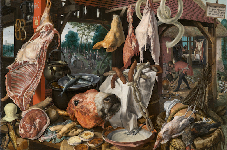 """Pieter Aertsen, """"A Meat Stall with the Holy Family Giving Alms"""""""