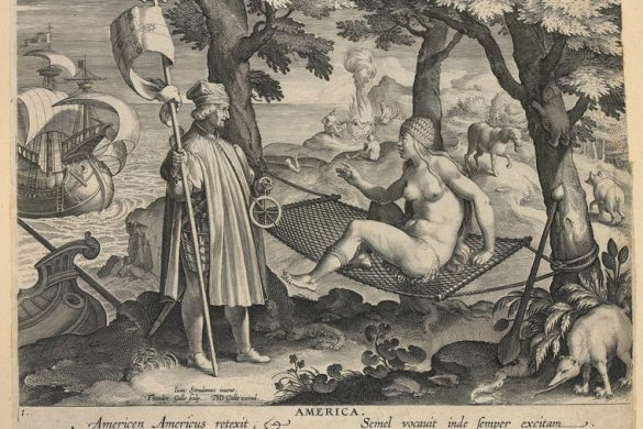 Amerigo Vespucci discovers America, from ' New Inventions of Modern Times'. Straet, Jan van der (Giovanni Stradano) after. Galle, Theodor (printmaker). Engraving. Album. circa 1591.