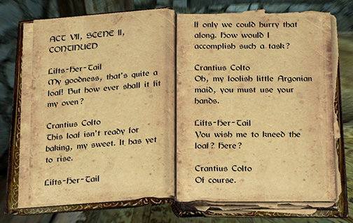 "A page from one of Skyrim's many in-game texts, ""The Lusty Argonian Maid."""