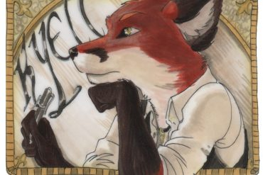 Custom-made badge of anthropomorphic fox bust in profile with the word KYELL behind him.