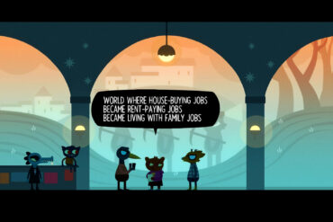 "A character from Night in the Woods reads a poem against a backdrop that includes several statues of workers holding pickaxes. The text reads ""World where house-buying jobs became rent-paying jobs became living with family jobs."""